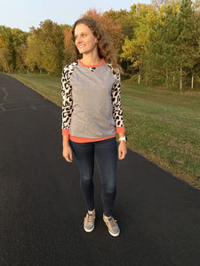 Long Sleeve Leopard Pullover - Gray - RTS