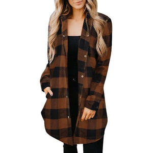Orange/Brown Plaid Shirt Coat - RTS