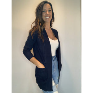 Ribbed Cardigan - Dark Navy - RTS