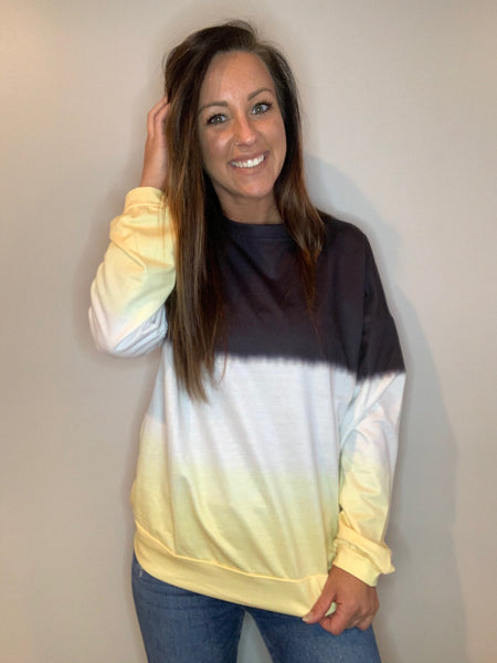 Black & Yellow - Tie Dye Pullover