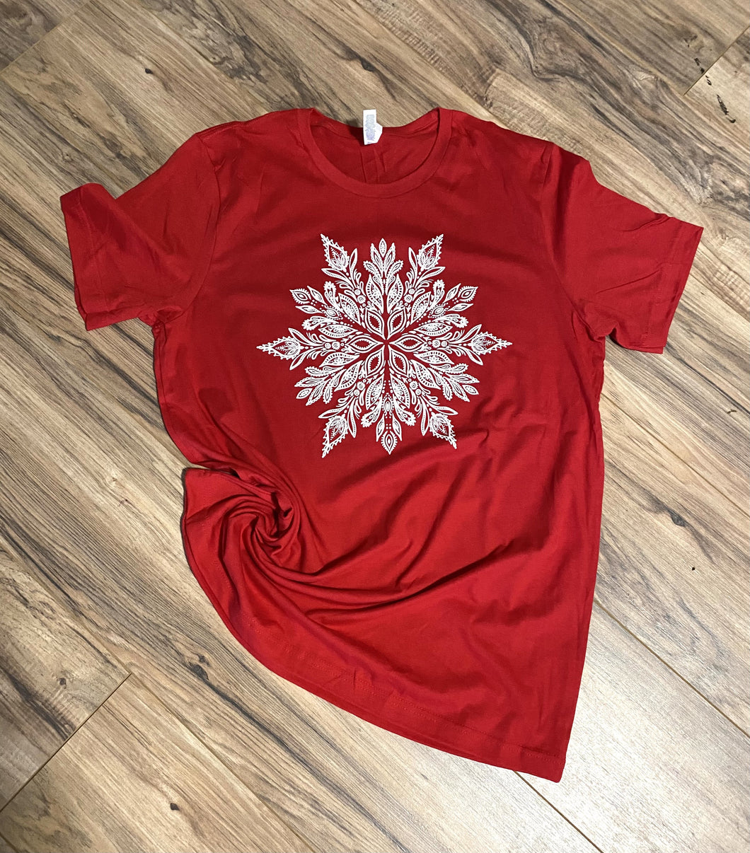 Christmas Snowflake - Red Tee - RTS