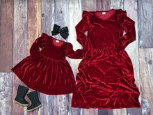 Load image into Gallery viewer, Mommy & Me Velvet Flutter Sleeve Dresses - Wine