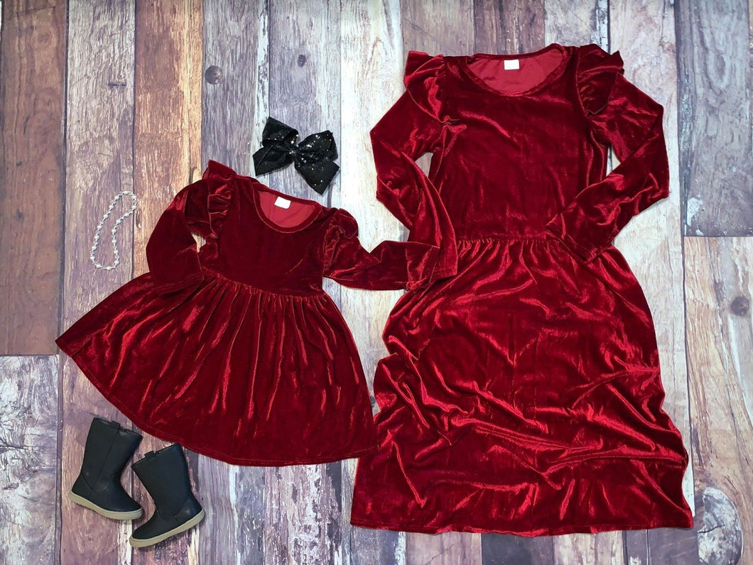Mommy & Me Velvet Flutter Sleeve Dresses - Wine