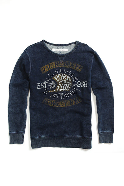 Bowery Racing Bones Crewneck - FMA323 Old Blue Wash - Bowery NYC