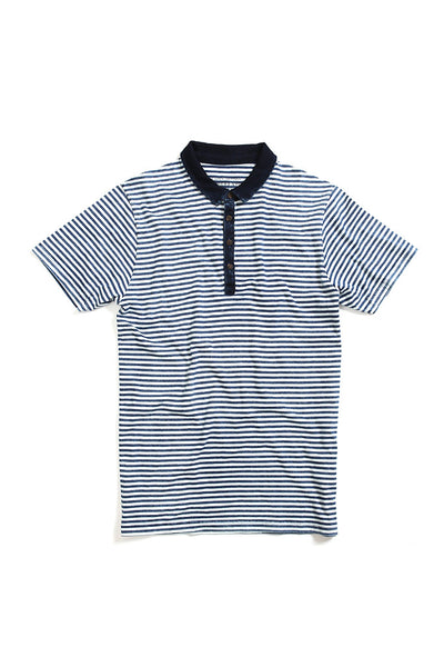 Bowery Indigo Striped Polo Shirt - TMB347