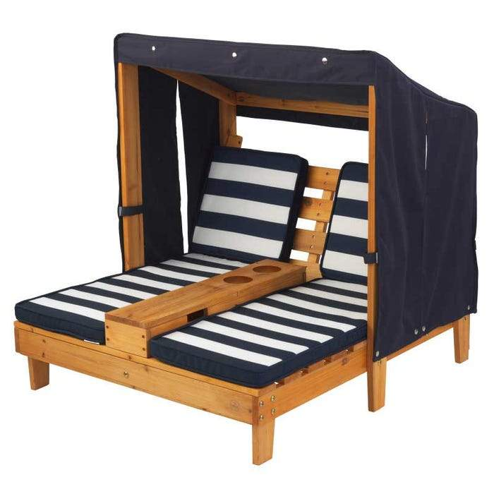 Double Chaise Lounge with Cup Holders - Honey with Navy & White Stripes