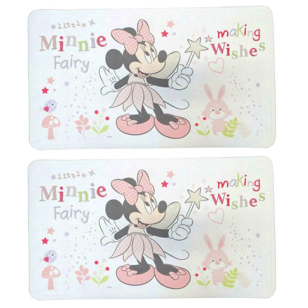 2PK Disney Minnie Mouse Fairy 69x40cm Baby/Kid Bath/Shower Mat/Pad w/Suction Cup