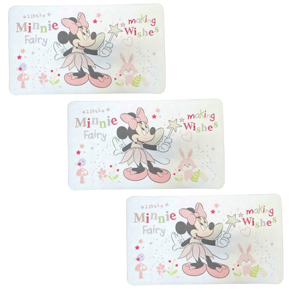 3PK Disney Minnie Fairy 69x40cm Baby/Kids Bath/Shower Mat/Pad w/Suction Cup