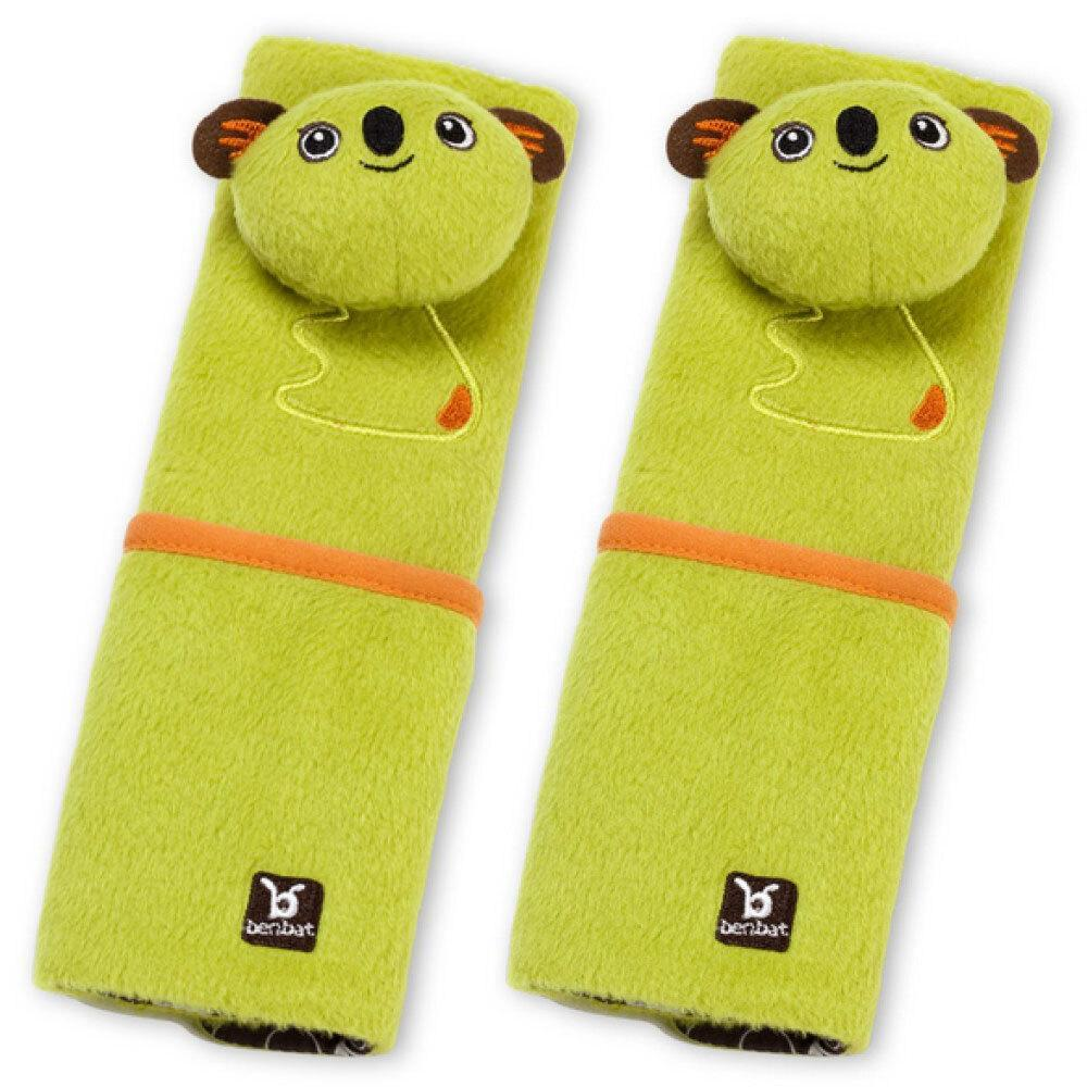 2PK Benbat Koala Pals Car Seat Belt Safety Cover 4-8m Baby/Infant Strap/Pads GRN