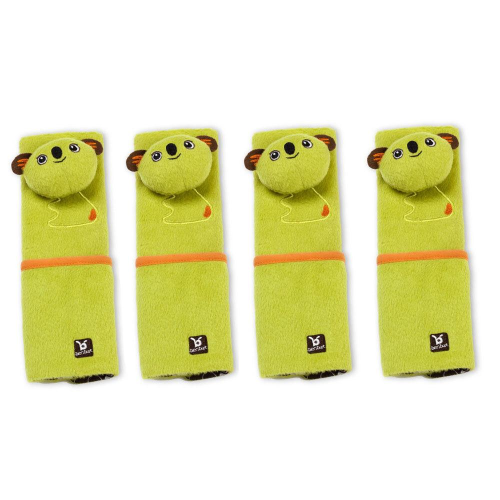 4PK Benbat Koala Pals Car Seat Belt Safety Cover 4-8m Baby/Infant Strap/Pads GRN