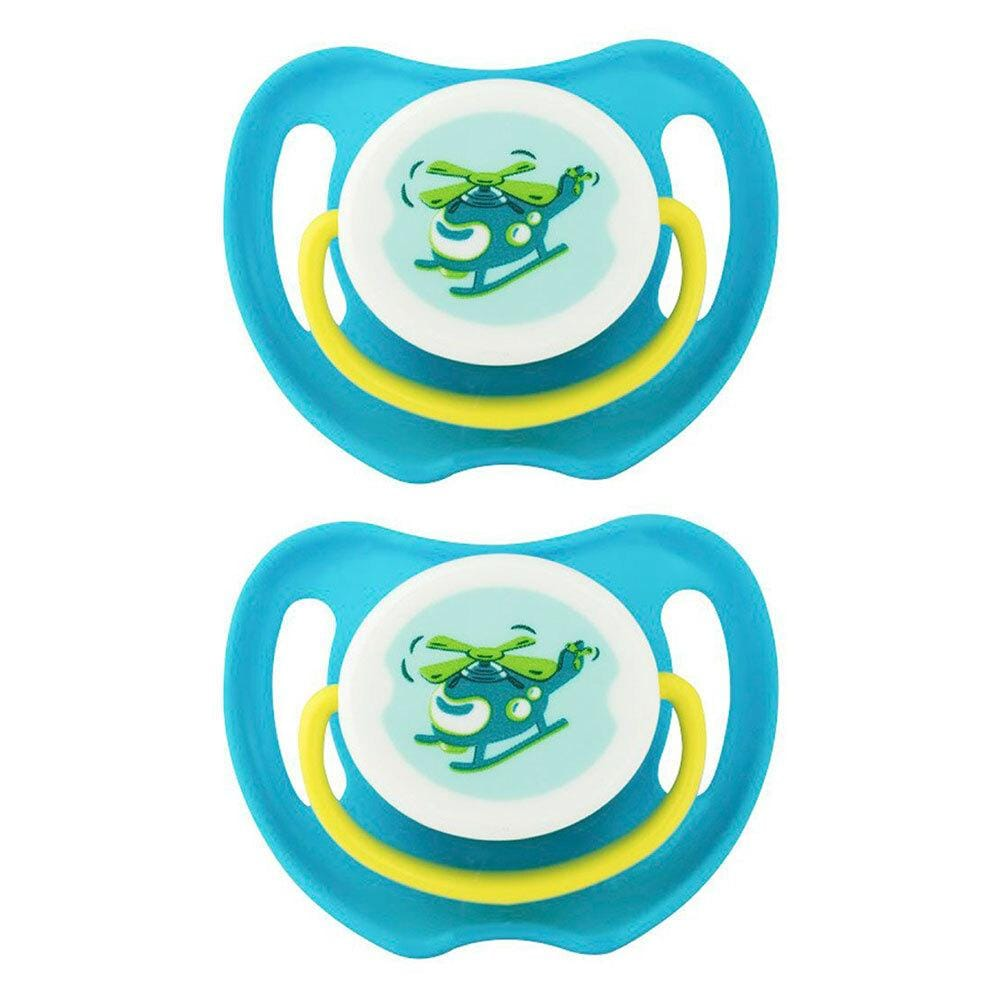 2x Pigeon Calming Soother Dummy Baby Feeding Pacifier 6m+ Helicopter Size L Blue