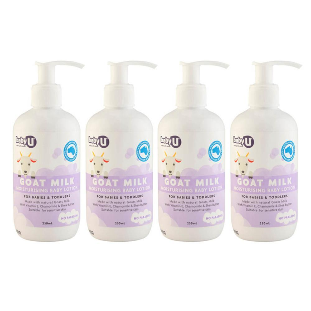 4x 250ml BabyU Goat Milk Baby/Kids Moisturising Lotion w/Shea Butter/Vitamin-E