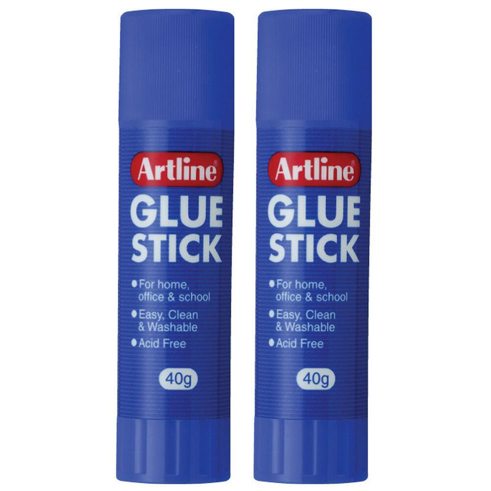 2PK Artline 40g Glue Stick Adhesive School/Office Washable Acid Free Paste Clear
