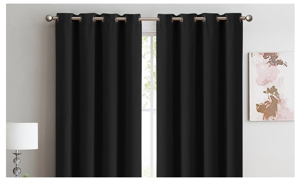 2x 100% Blockout Curtains Panels 3 Layers Eyelet Black 240x230cm