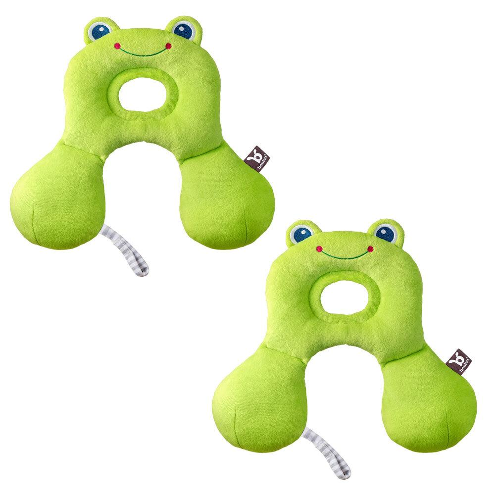 2PK Benbat Total Support Car Seat Headrest Head/Neck Travel Baby Pillow Frog GRN