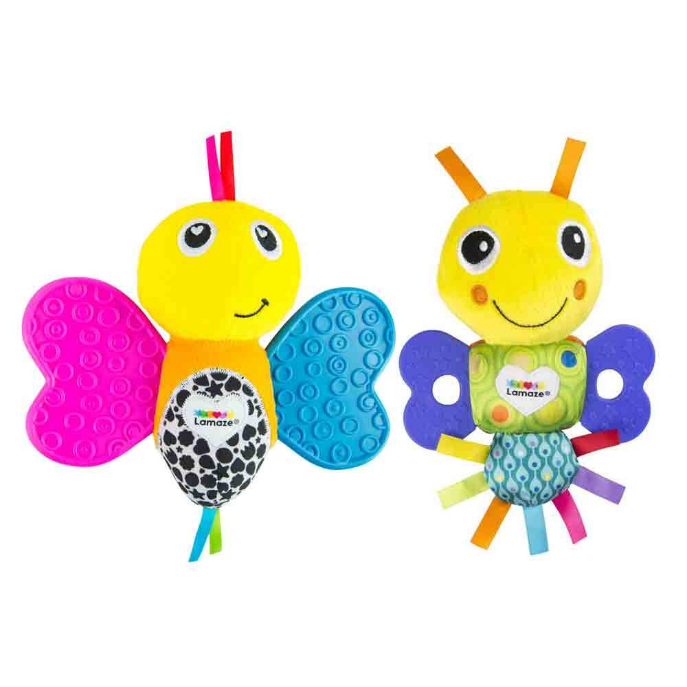 2x Lamaze Mini Teether 15cm Butterfly/Freddie Baby/Soft/Plush Toys w/ Rattles 0+