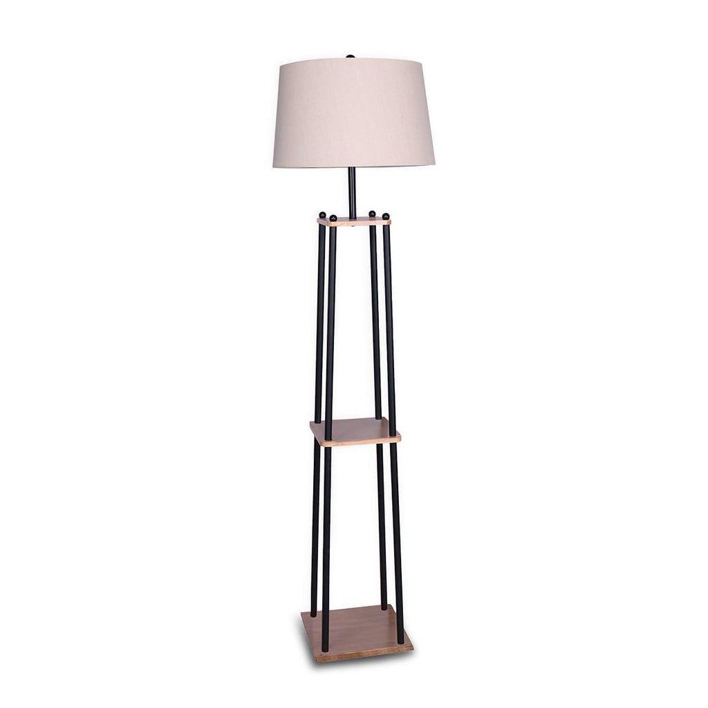 Metal Etagere Floor Lamp with Wood shelf & Cream Linen Fabric Shade