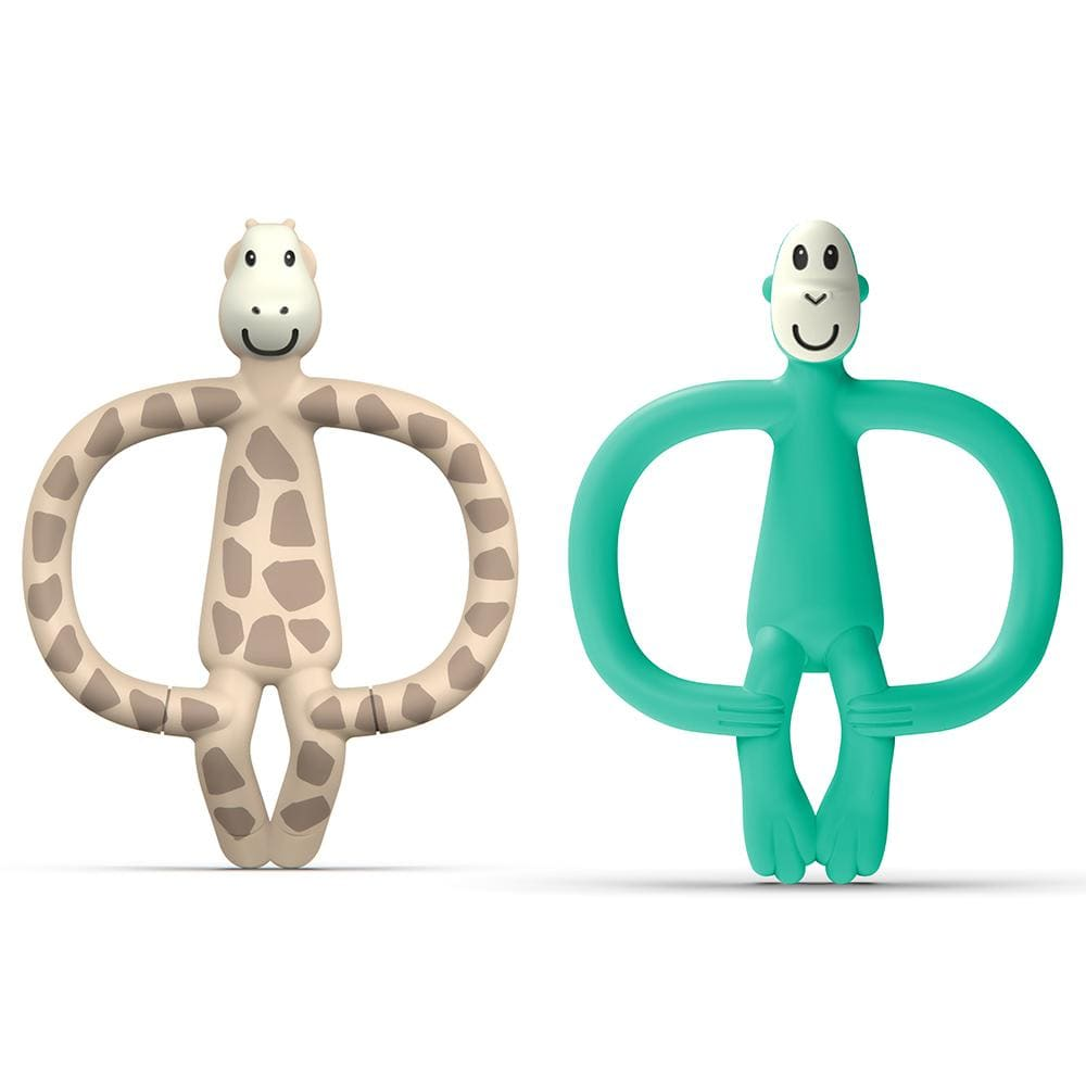 2x Matchstick 11cm Animal Anti Microbial Teether Baby 6-18m Giraffe/Monkey