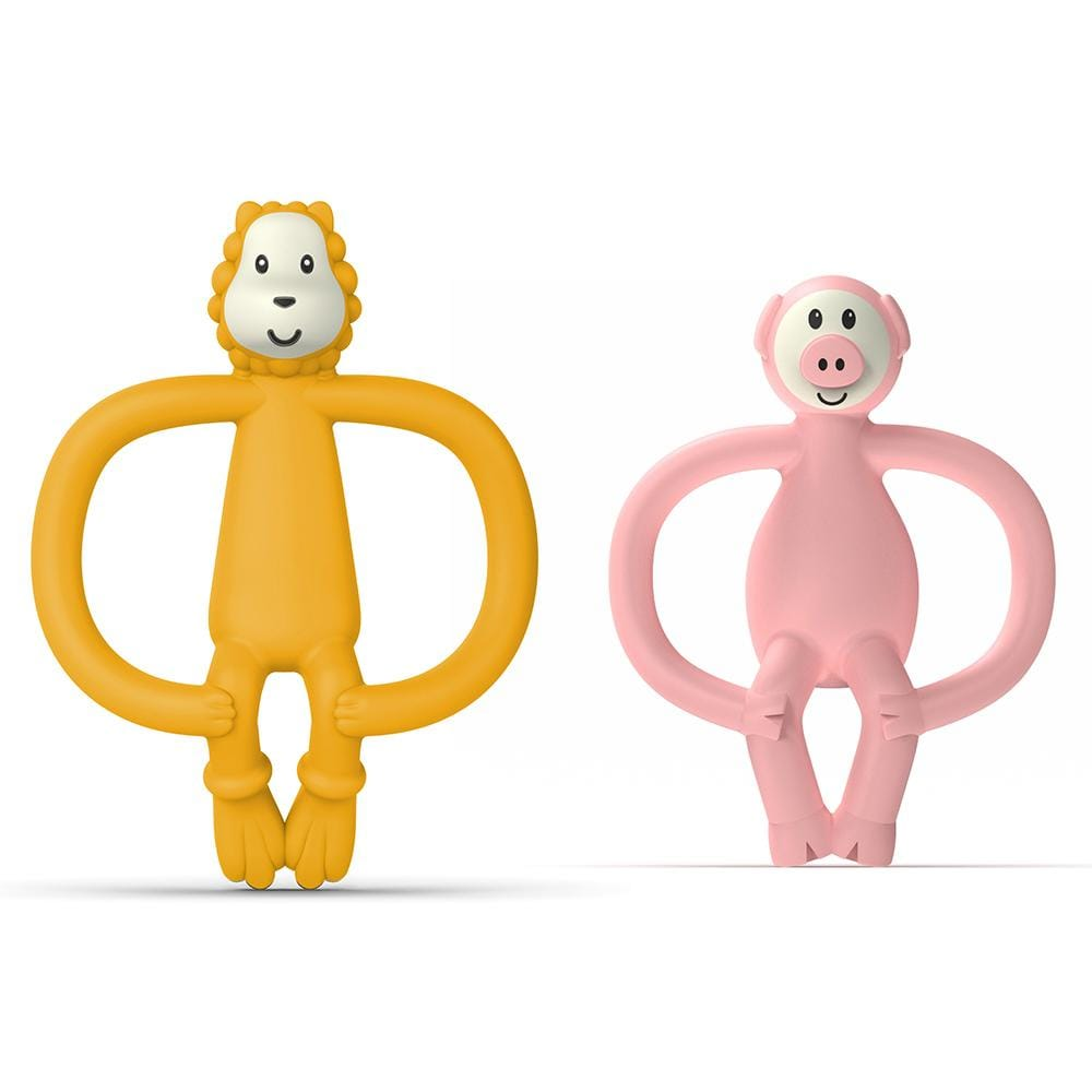 2x Matchstick 11cm Monkey Animal Anti Microbial Teether Baby 6-18m Lion/Pig