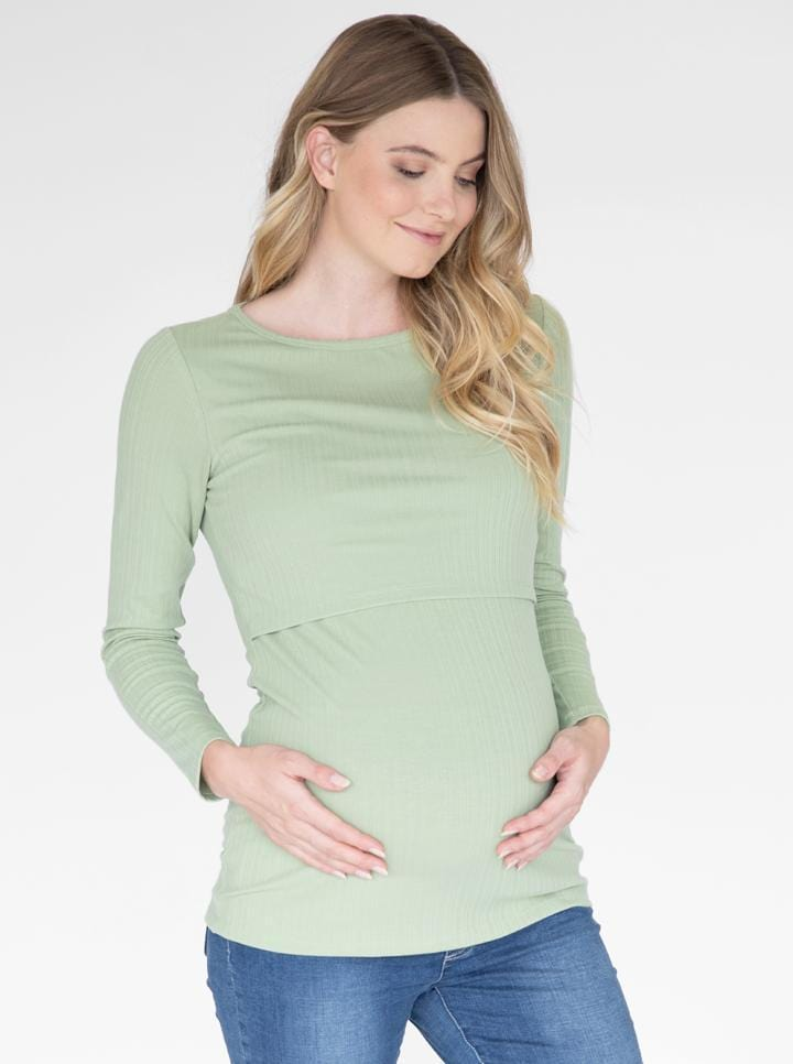 Maternity & Nursing Long Sleeve  Cotton Top in Green