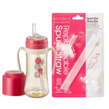 Mother-K PPSU Straw Bottle 300mL (Red) & Replacement Spout & Straw (2P) Set