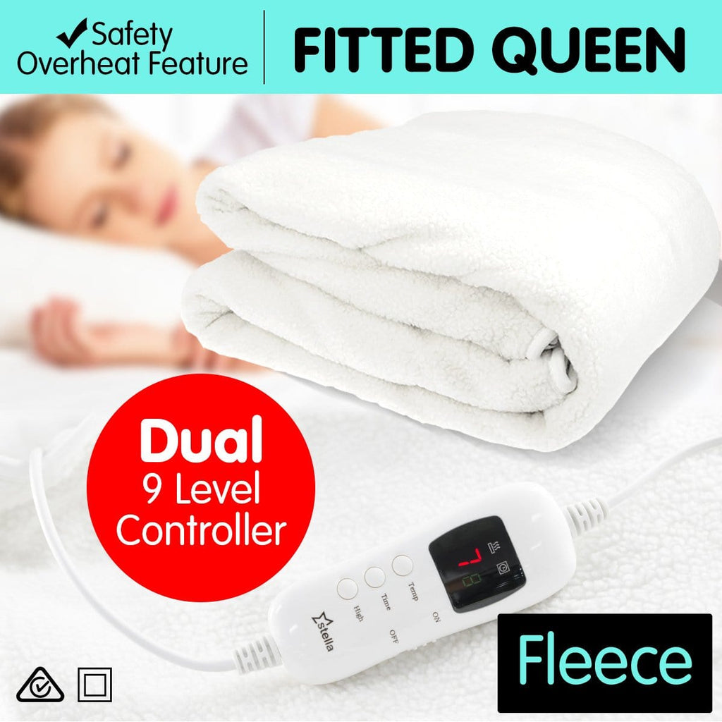 Stella Fleece Electric 9 Level Heated Settings Blanket - Queen