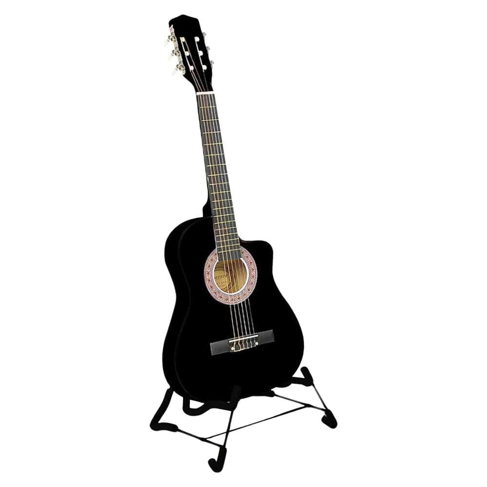 Karrera 38in Pro Cutaway Acoustic Guitar with Carry Bag - Black