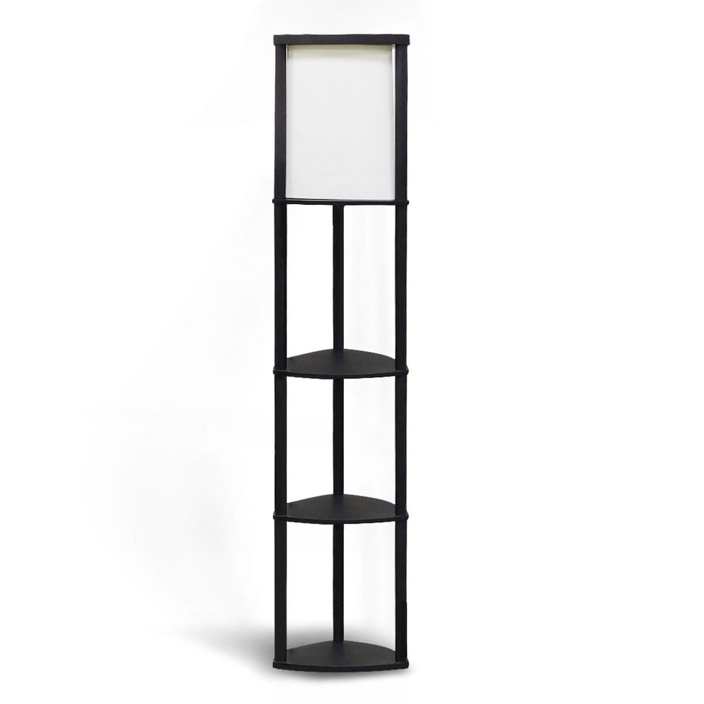 Wood Etagere Floor Lamp in Tripod Shape with 3 Wooden Shelves