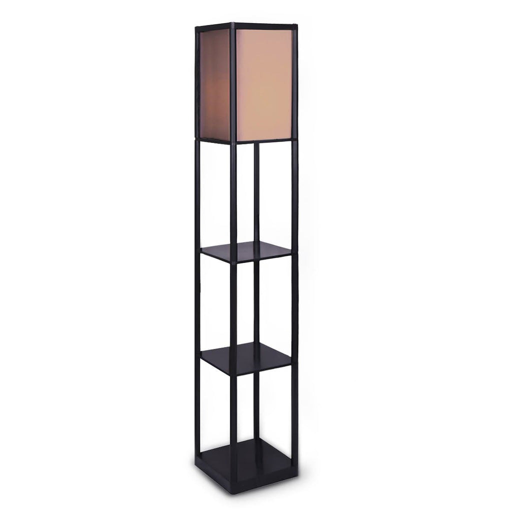 Etagere Floor Lamp Shelves in Black Frame Fabric Shade