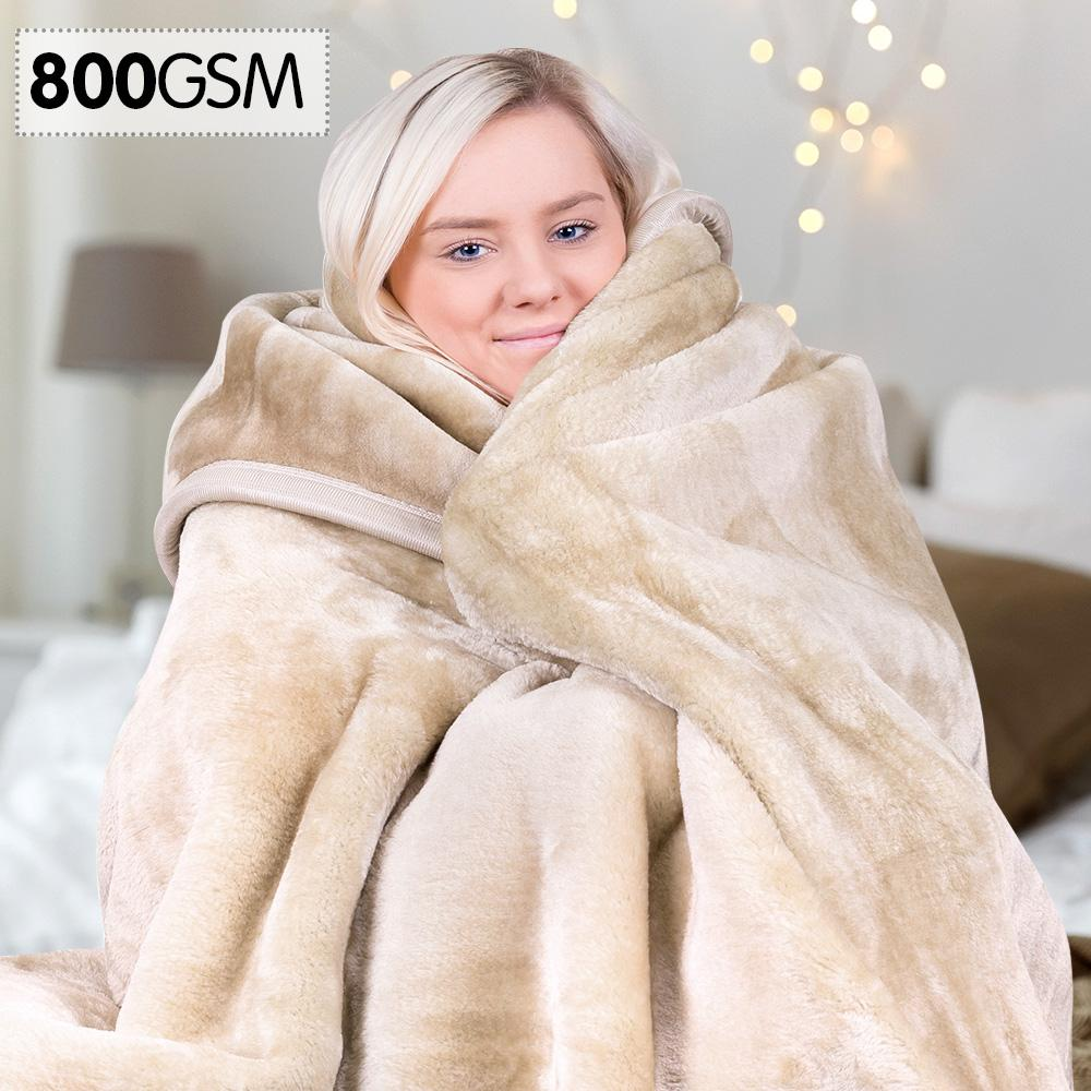 Laura Hill Faux Mink Blanket 800GSM Heavy Double-Sided - Beige