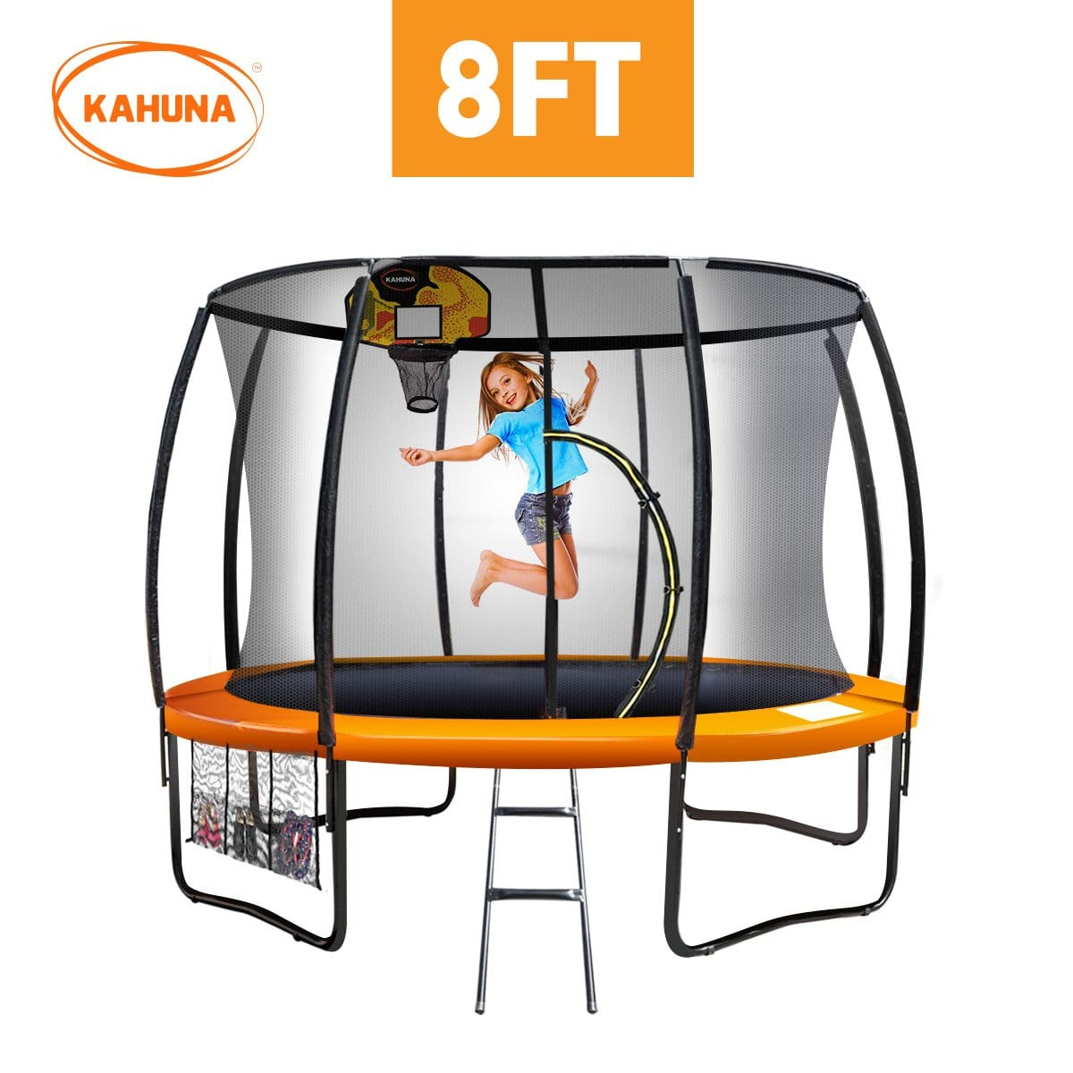 Kahuna Trampoline 8 ft with Basketball set - Orange