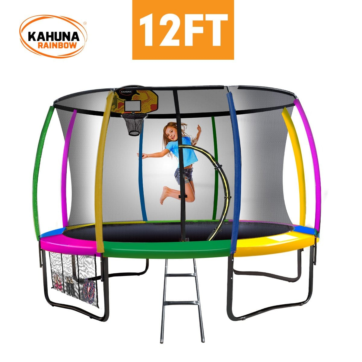 Kahuna Trampoline 12 ft with Basketball set - Rainbow