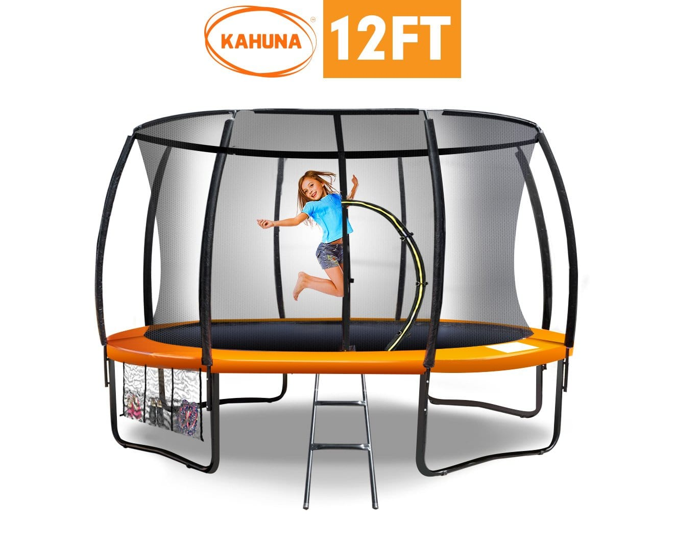 Trampoline Kahuna 12 ft Round Outdoor Kids with Safety Enclosure Net