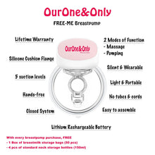 Load image into Gallery viewer, FREE-ME Wearable Breastpump with 4 FREE Standard Neck Storage Bottles