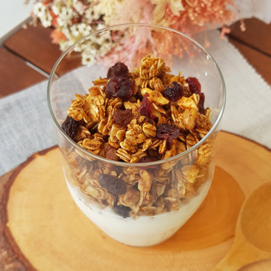 Granola with almond, walnut, cranberries & raisins. No sugar added with only honey as the natural sweetener.