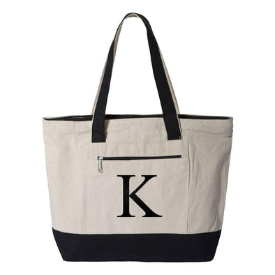 Personalized Embroidered 12 oz Zippered Cotton Tote Bag