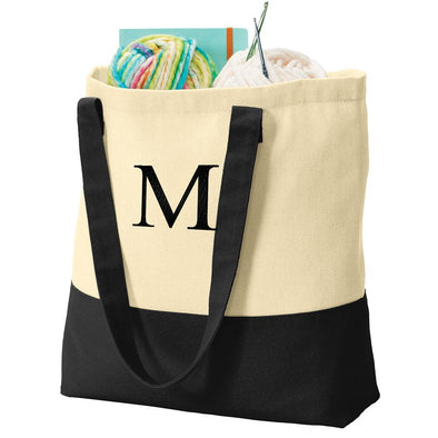 Personalized Embroidered Color-block Cotton Tote Bag