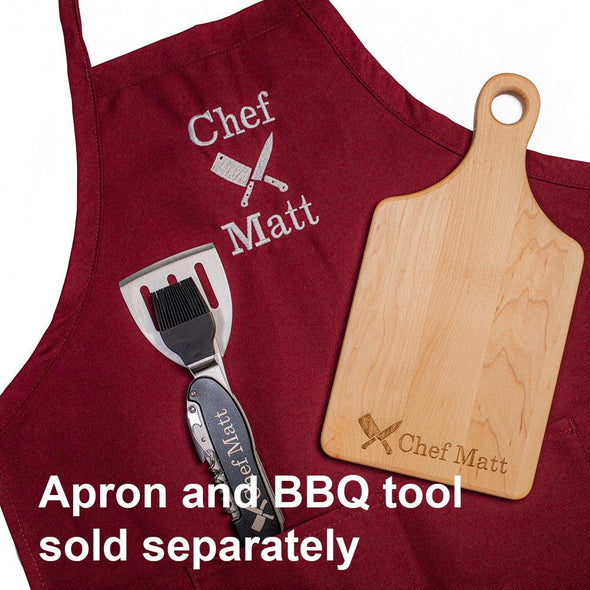 Personalized Laser Engraved Chef Knives Cutting Board (Rectangle or Paddle Shaped Options)