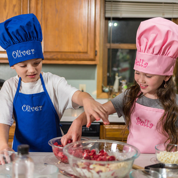 Personalized Embroidered Kids Apron and Chef Hat Set