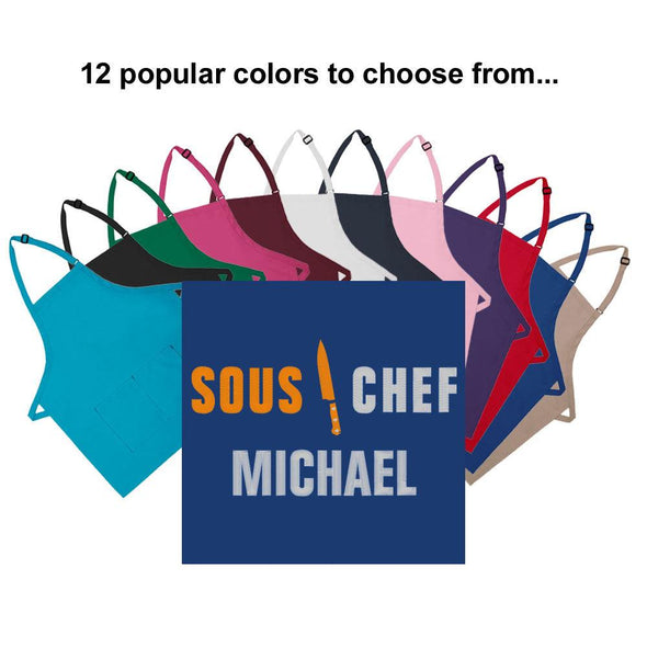 Personalized Apron Embroidered Sous Chef Design Add a Name