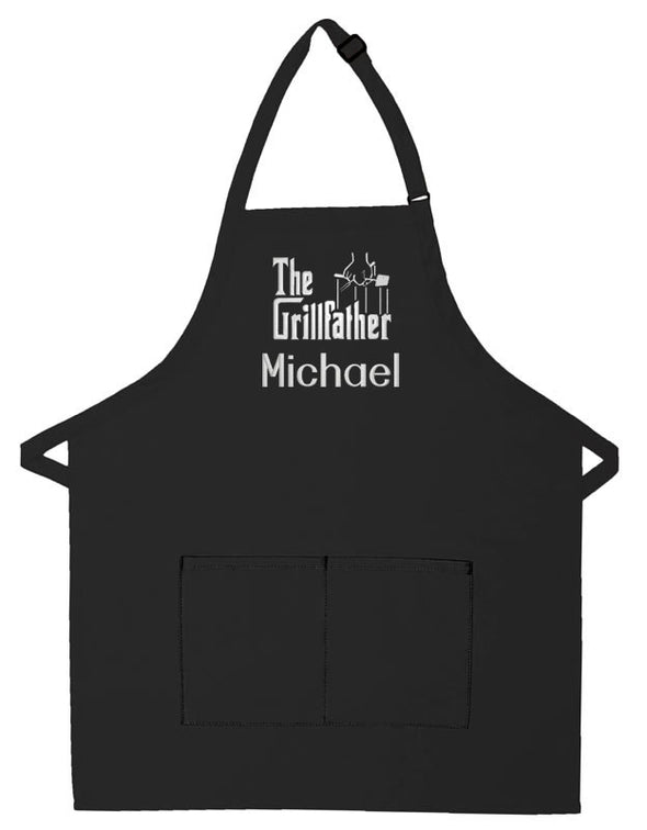 Personalized Apron Embroidered The Grillfather Design Add a Name