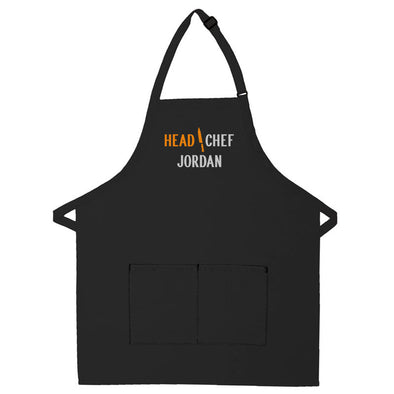 Personalized Apron Embroidered Head Chef Design Add a Name