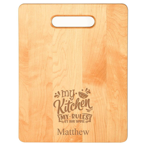 Laser Engraved My Kitchen My Rules Cutting Board (Rectangle or Paddle Shaped Options)