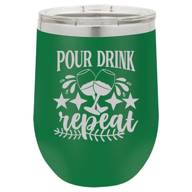 Personalized Pour Drink Repeat Engraved Wine Tumbler