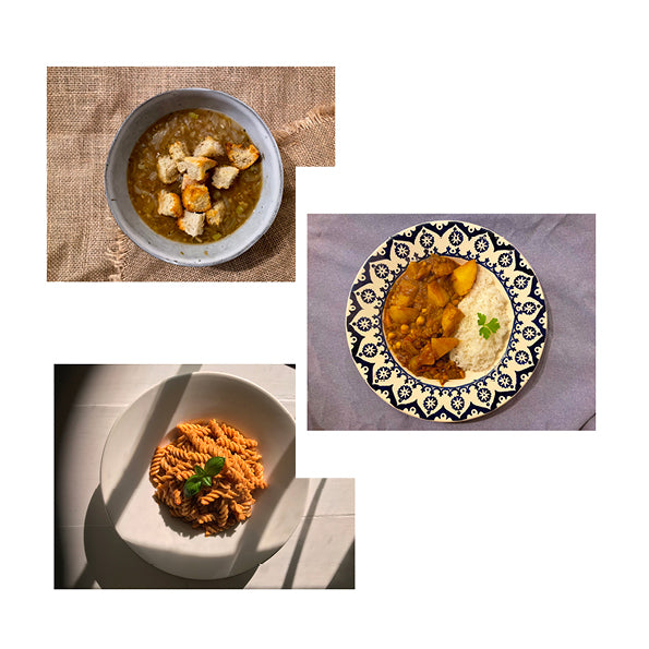 22/03 - Onion & Miso Soup, Roasted Red Pepper Pasta & Bombay Potatoes