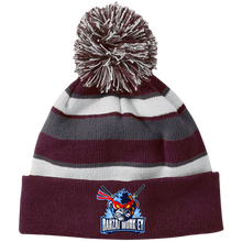 Load image into Gallery viewer, 223835 Striped Beanie with Pom and a Mad Monkey!
