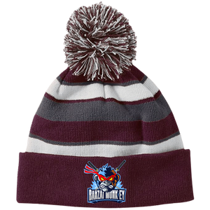 223835 Striped Beanie with Pom and a Mad Monkey!