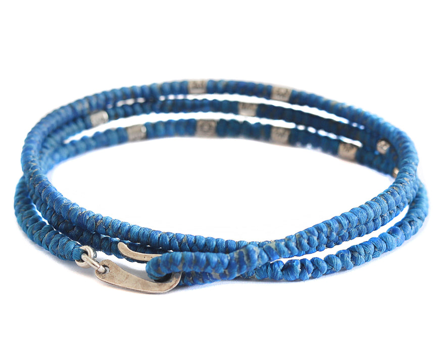 Unisex Woven Sea Blue 3 Wraps Braided Bracelet with Sun Engraved Beads