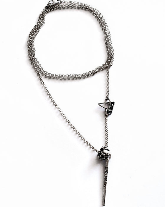 Skull and Bone Sterling Silver Necklace