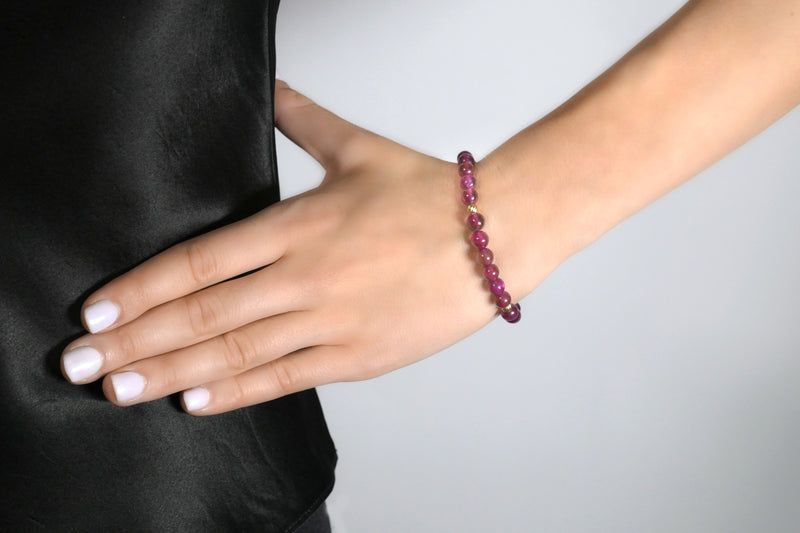 9K Gold Ruby Ball With Beads Bracelet